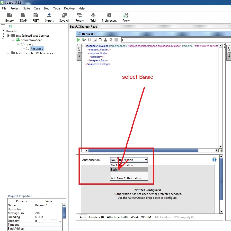 SoapUI insert to a serviceNow table returns Unauthorized 401