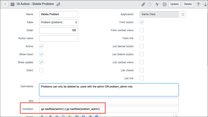Managing access to UI actions with conditions, roles, and