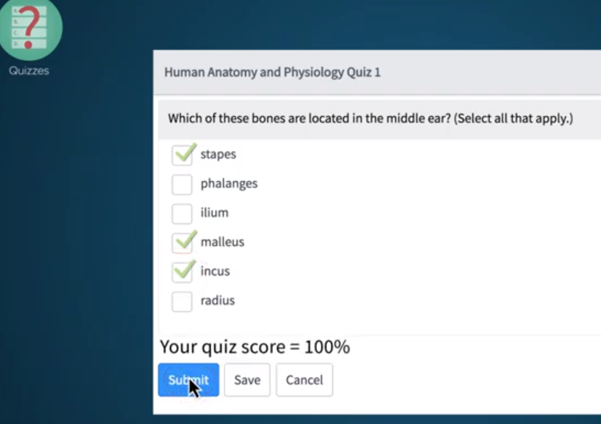 How can I create a multiple choice quiz question that allows