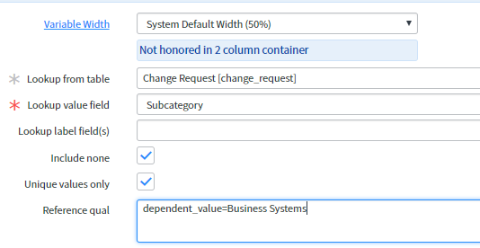 Lookup Select Box service catalog variable Reference qual - IT