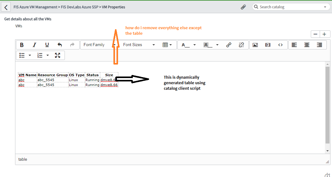 how to create a table dynamically on catalog item form, to display