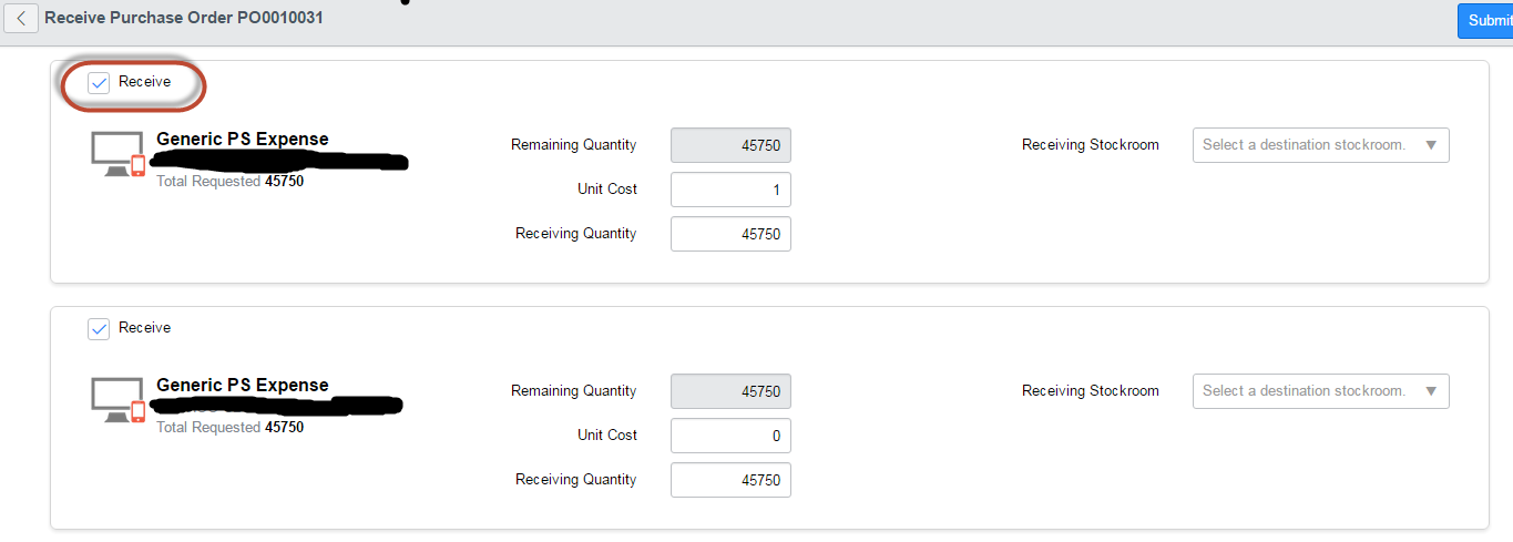 Receive button on Purchase Orders - what page? - IT Service ...