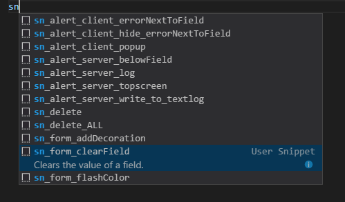 Service Now Code Snippets for VS Code - Developer Community