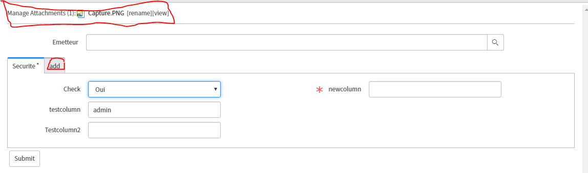 add an attachment to a specific field - IT Service