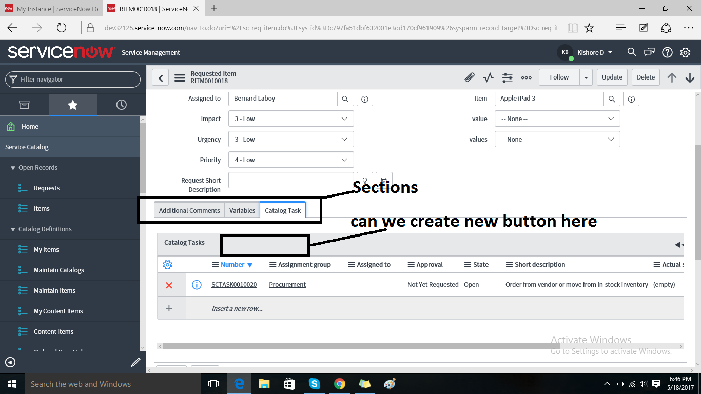 Embedded List Add or New Button - IT Operations Management