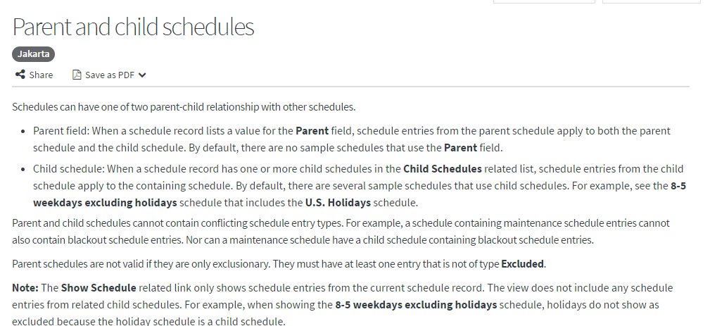 Does child schedule inherits the schedule of of parent? - Now