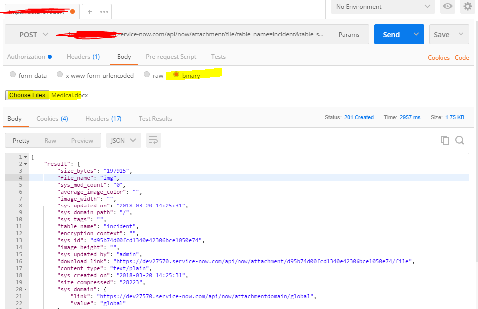 Error while calling the rest attachment API using POSTMAN