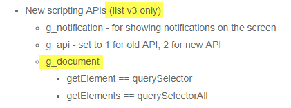 Can ui actions leverage the following functions in list v3