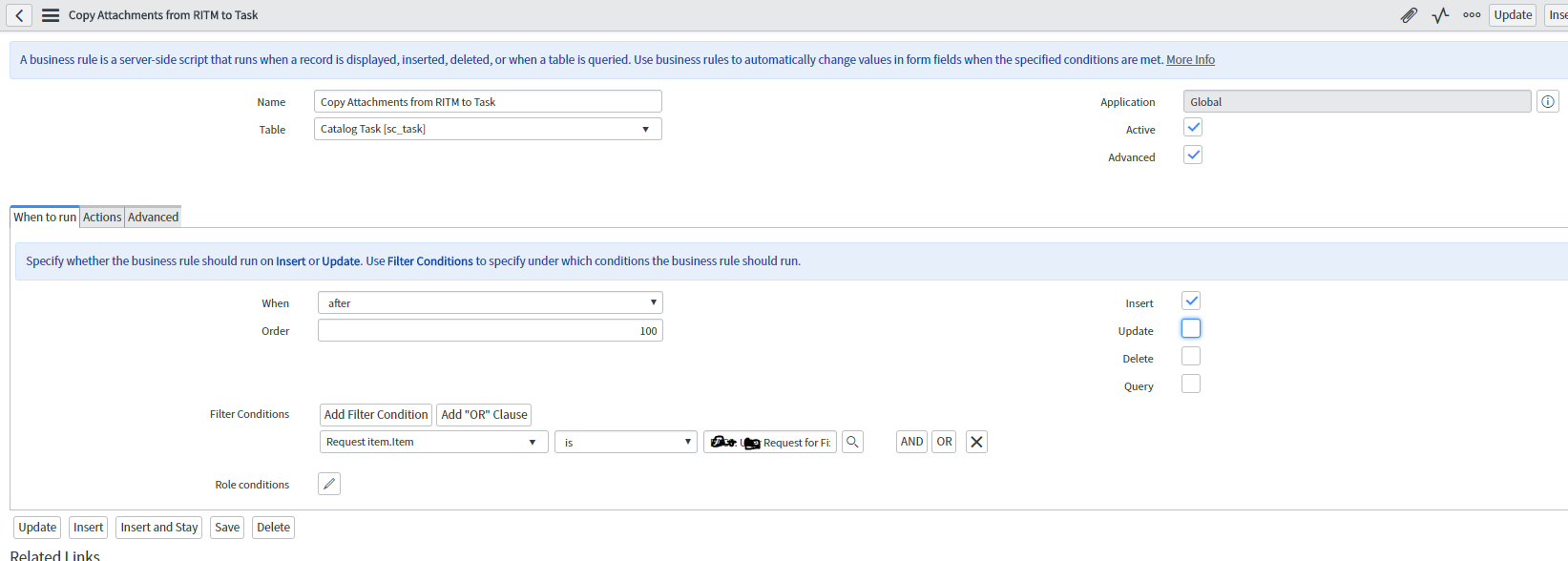 How to copy attachments from RITM to taks - Developer