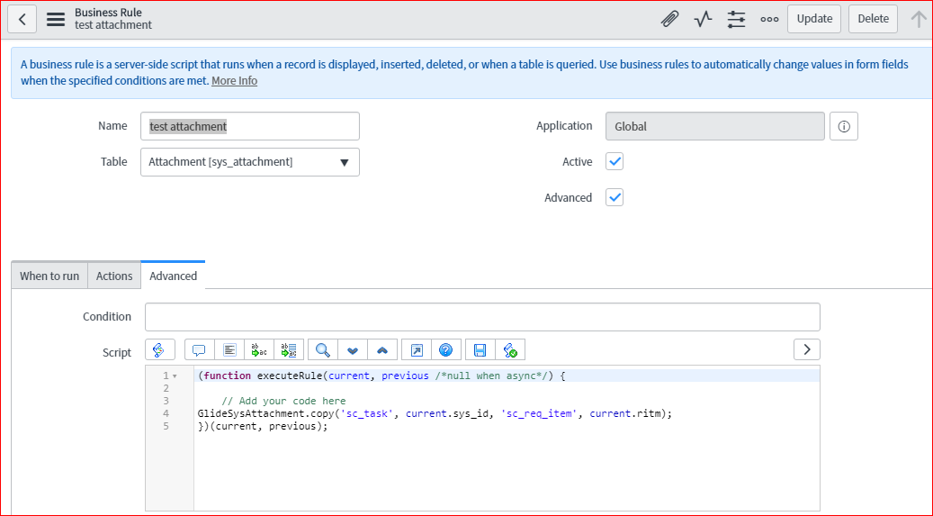 Copy catalog task attachments to Requested item - Developer