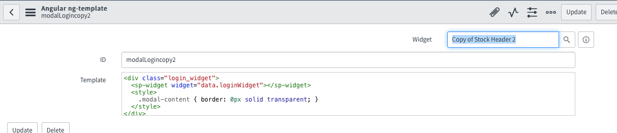 Where do I edit the code in my Copy of Stock Header Widget to match ...