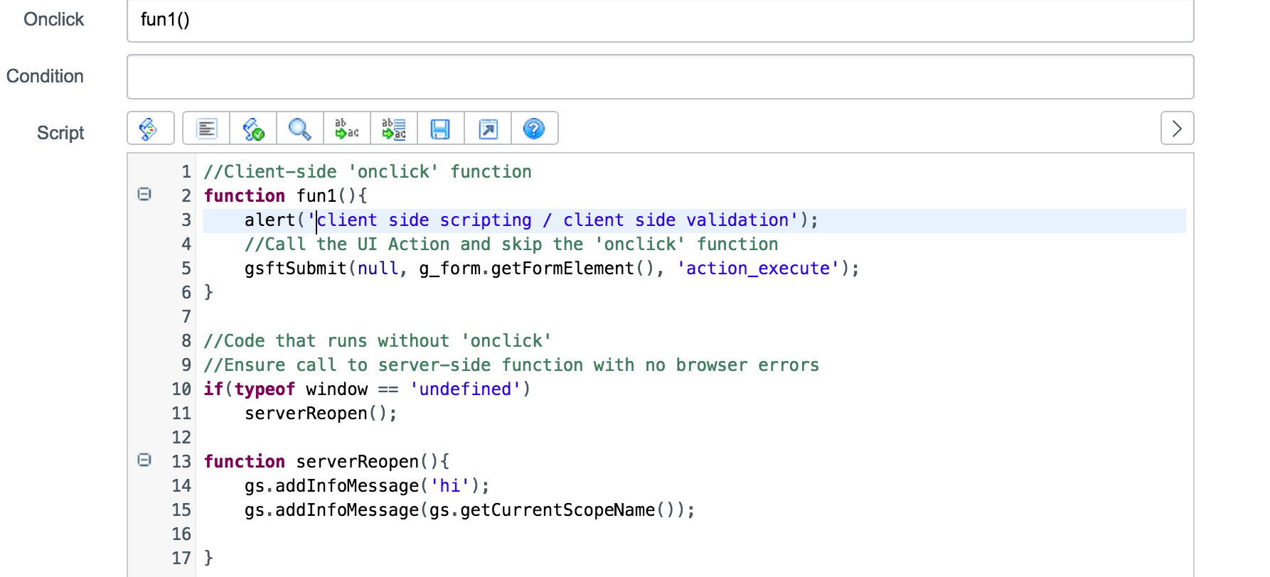 How to access gs getCurrentScopeName() from client side UI Actions