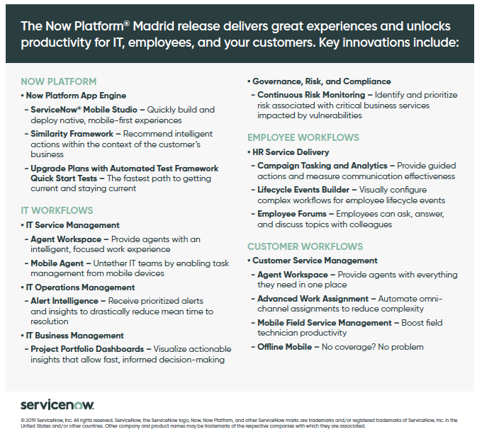 Now Platform Madrid Release - Fact Sheet - Product Launch