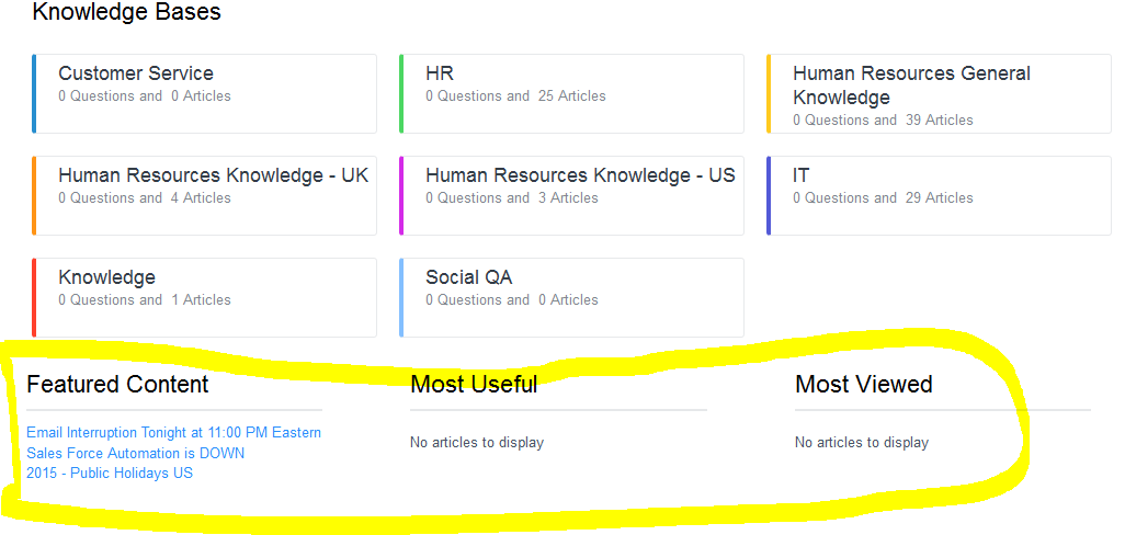 How to add Featured Content,Most Useful and Most Viewed to Knowledge