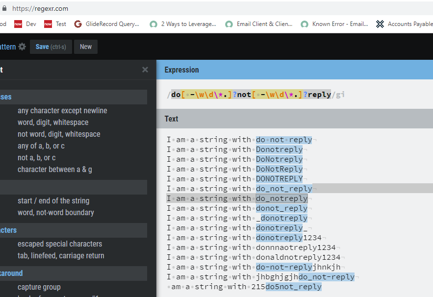 Regular Expression in Advanced Condition Notification - Now Platform