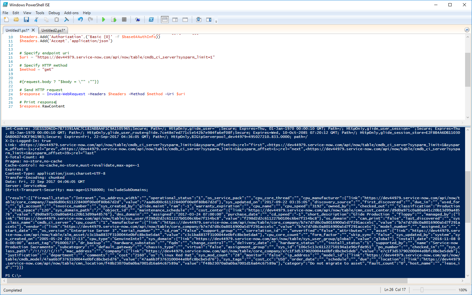 Powershell API example - IT Service Management - ServiceNow