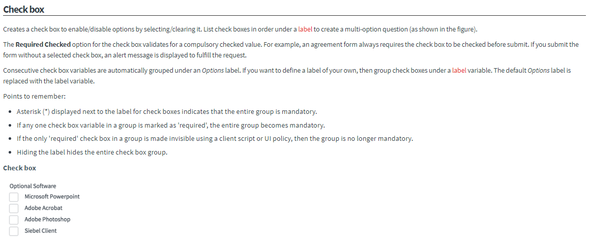 How can you create a multiple choice check box and make it