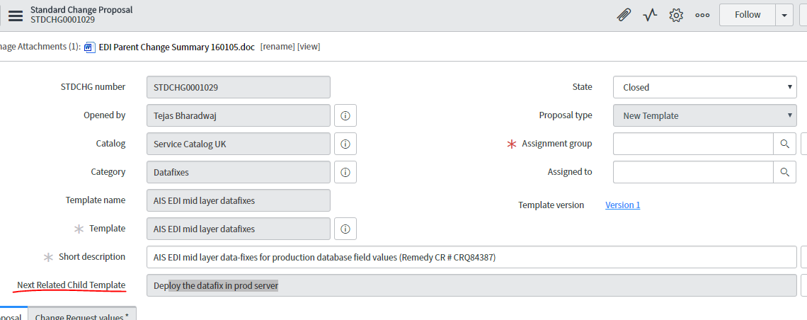 in standard change proposal form how to make all related task