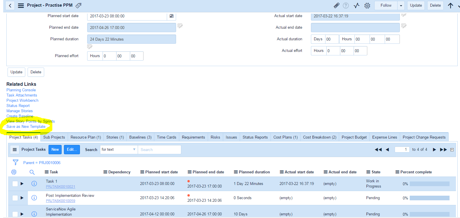 Project Tasks Template from community.servicenow.com