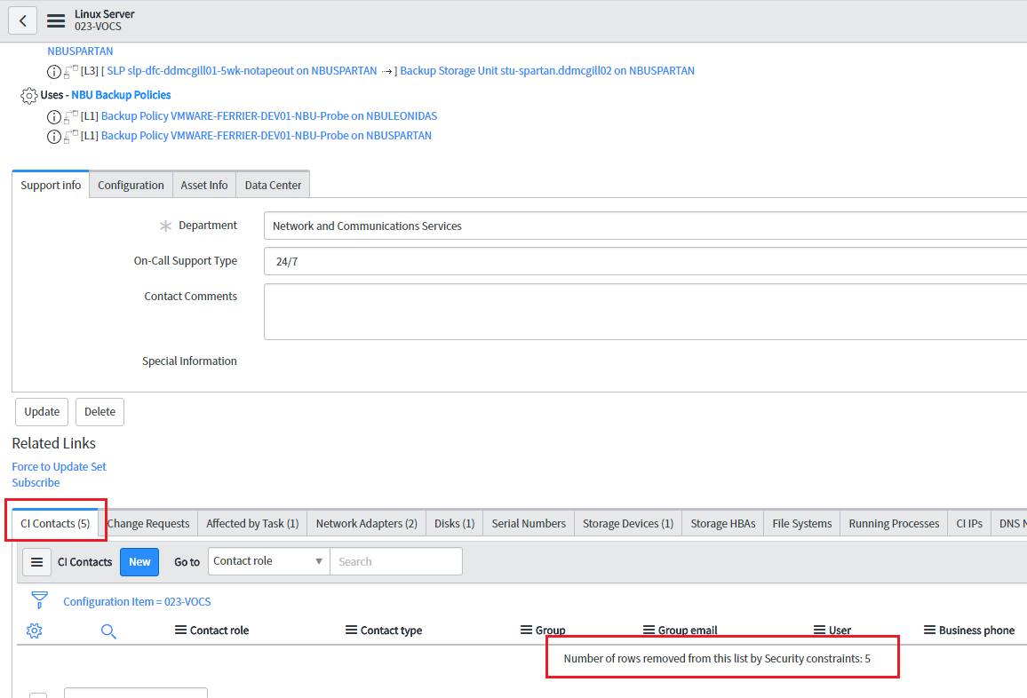 ACL on related list - IT Service Management - ServiceNow Community