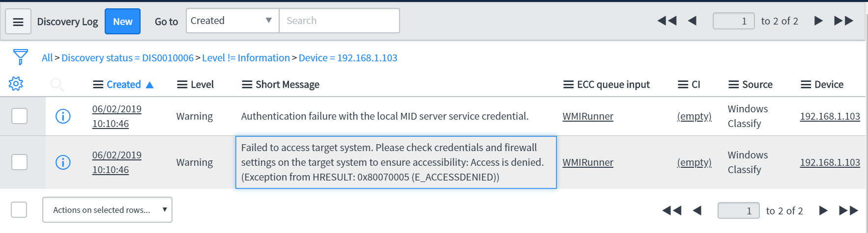 Service Discovery Authentication issue - IT Operations Management