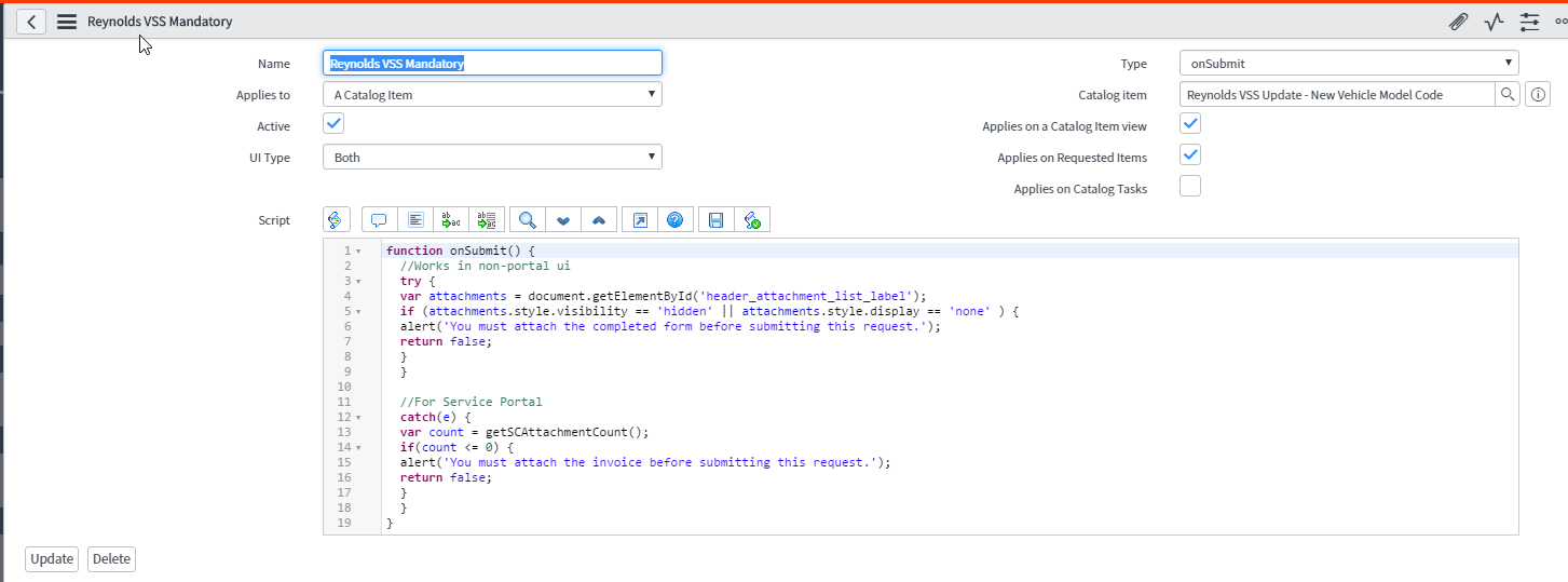 Require attachment for catalog item in Service Portal - Now