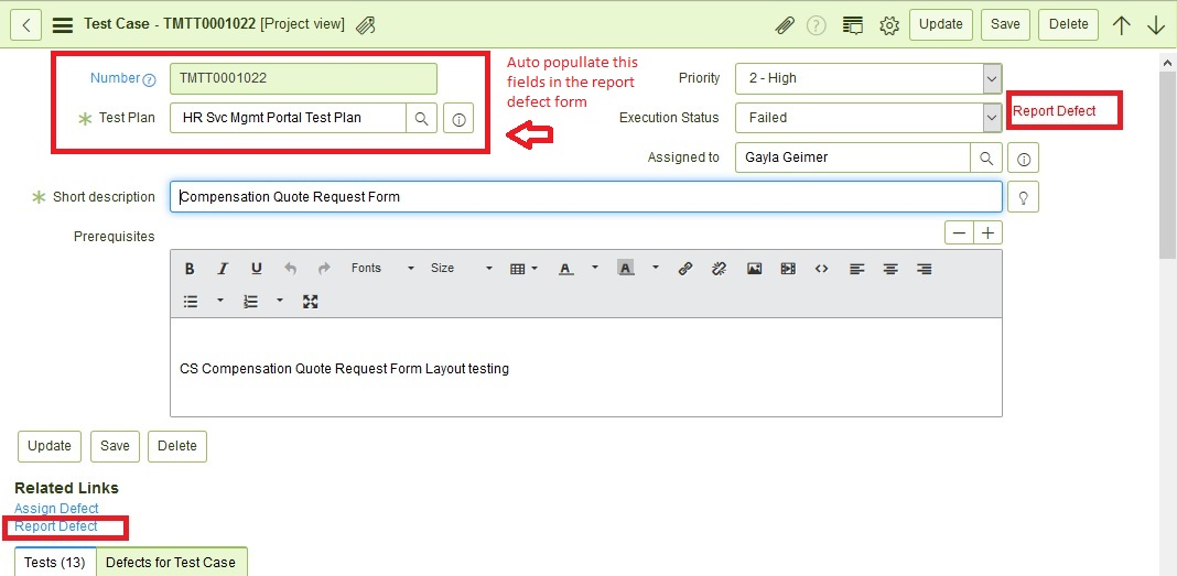 Test Management - Auto populate Test Plan and Test Case in Report