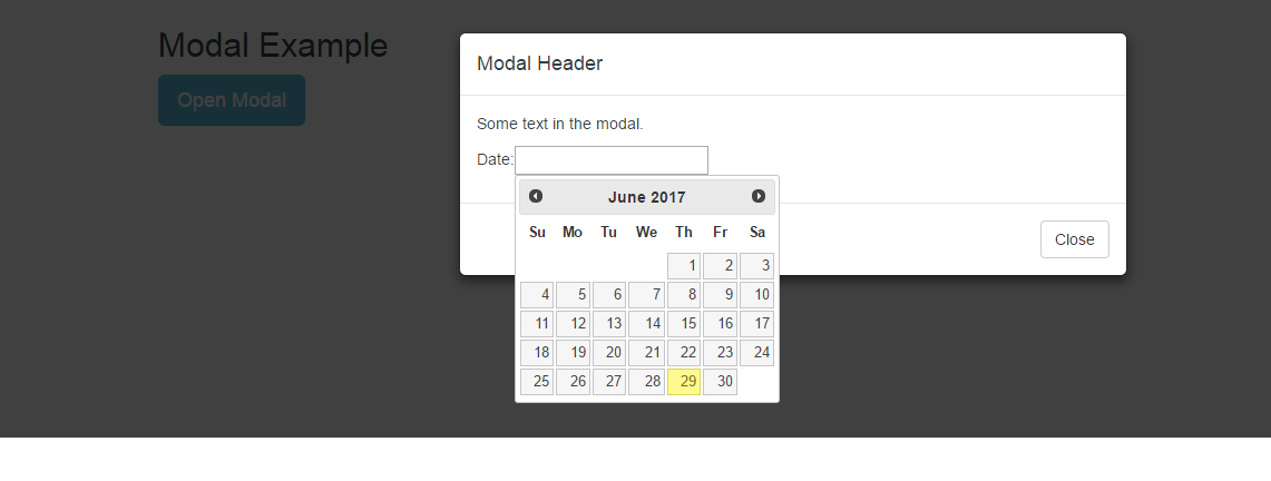 UI page : jquery datepicker not working inside bootstrap modal