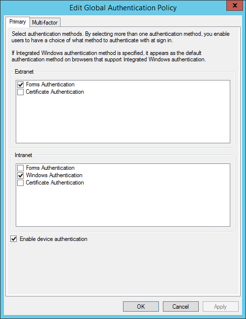 ADFS SSO and Passthrough Authentication (SAML Multifactor