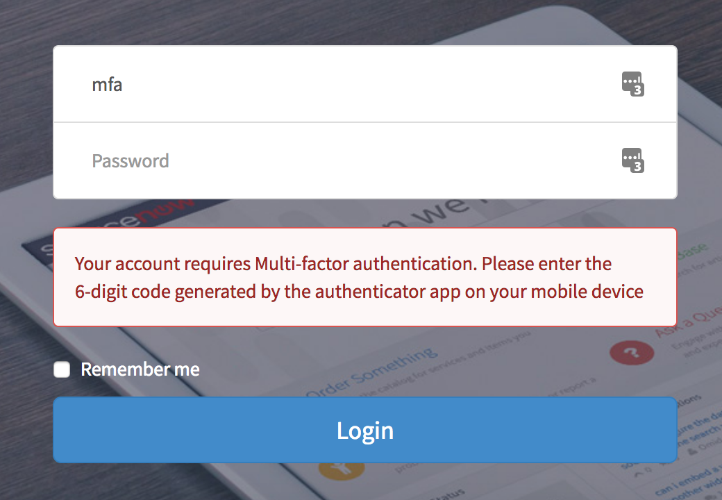 Using multi factor authentication with Service Portal - Now