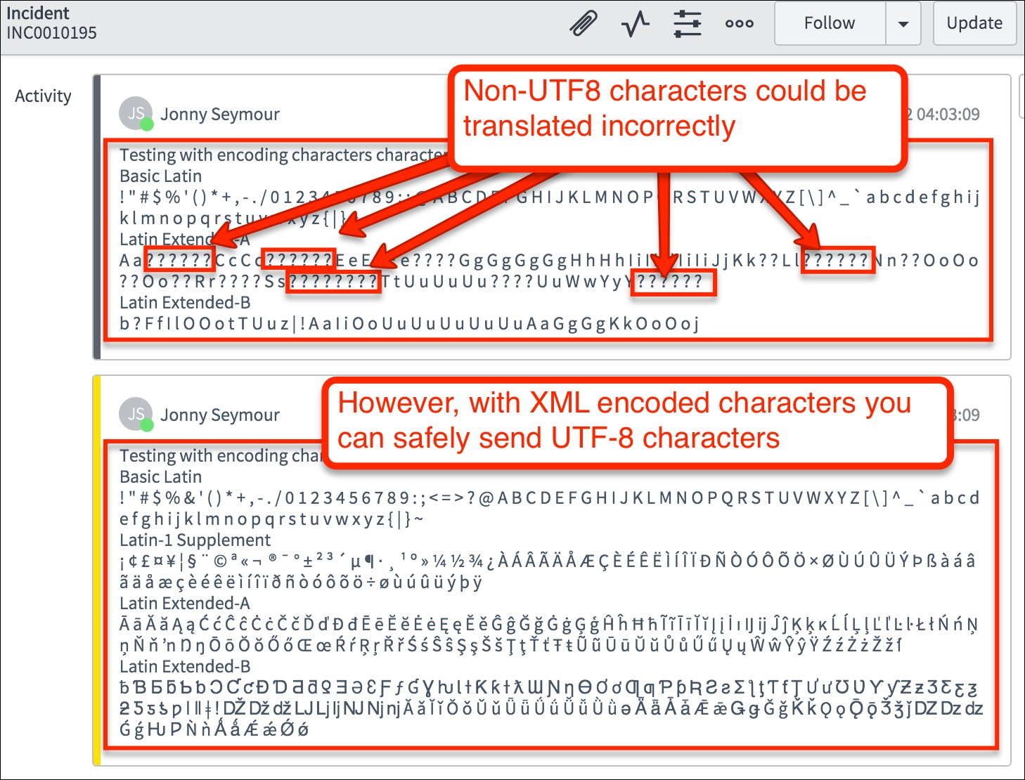 How to avoid untranslated characters � in your XML data