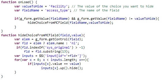 How to disable question choices in multiple choice variables