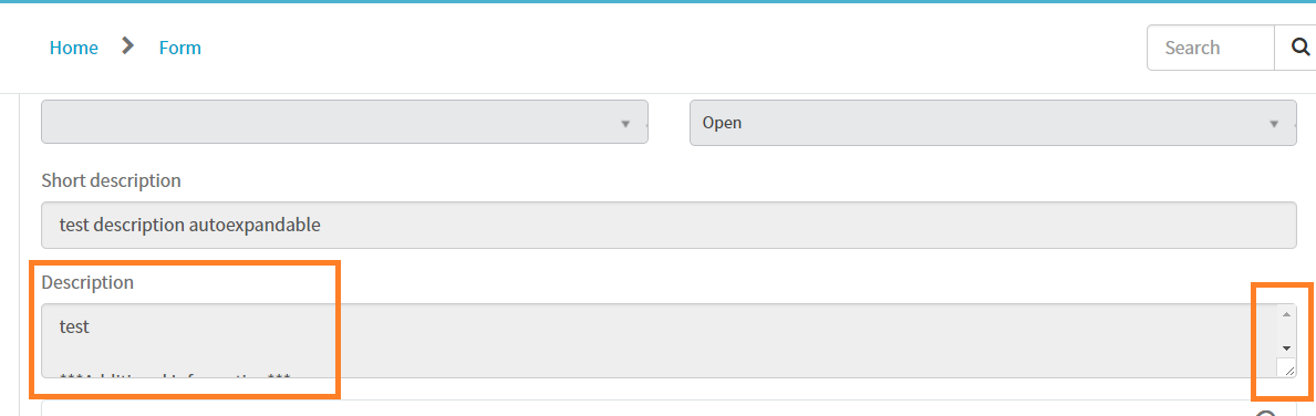 Description field is not getting auto expand in service