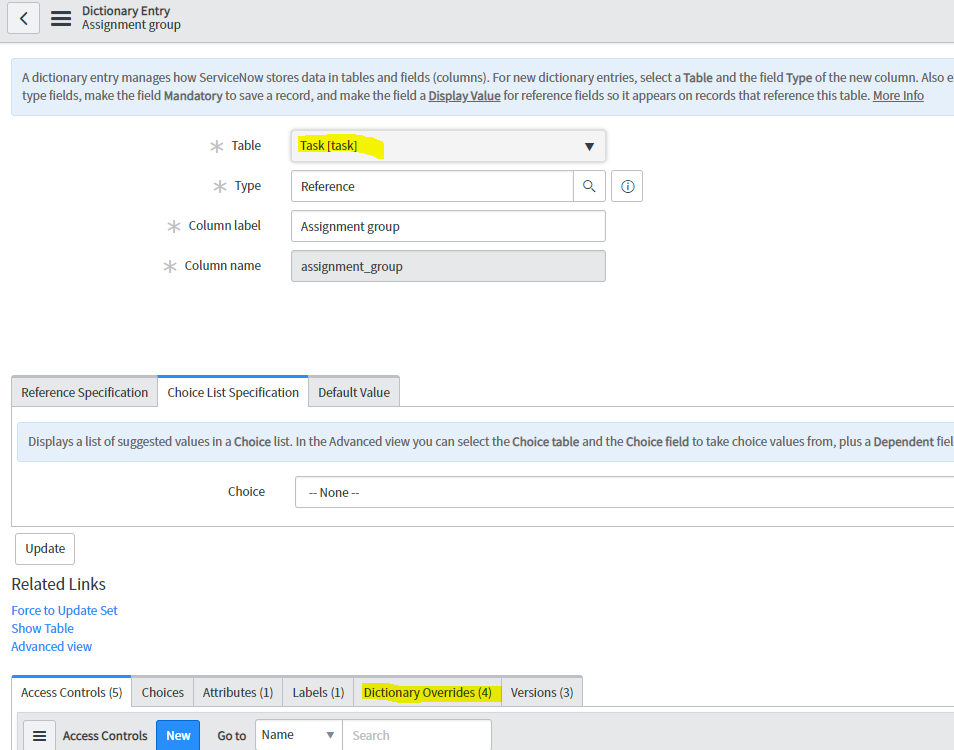 Unable to create dictionary override? - Now Platform - ServiceNow